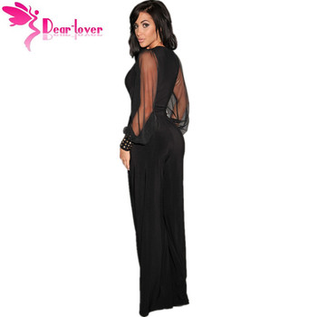 Dear-Lover Long Black Rompers Womens Jumpsuit Winter Autumn Party V-neck Embellished Cuffs Mesh Sleeves Loose Club Pants LC6650 1