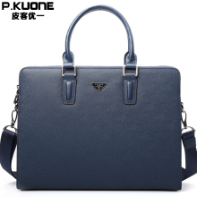 P.KUONE Brand Genuine Leather Men Business handbag, Men's Briefcase Shoulder Bag Male Hand Bag Computer Laptop Handbags