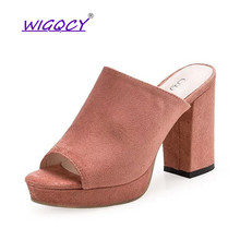 Summer Solid Color women slippers Square High Heels Black Pink Concise Top Quality casual mules shoes Party Slides