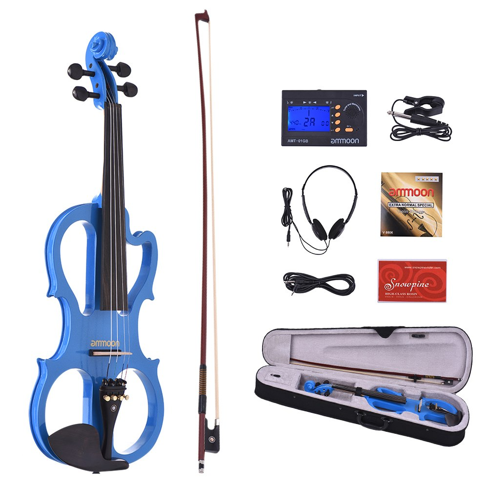 ammoon Hot sale VE-201 Full Size 4/4 Solid Wood Silent Electric Violin Fiddle Maple Body Ebony Fingerboard Pegs Chin Rest