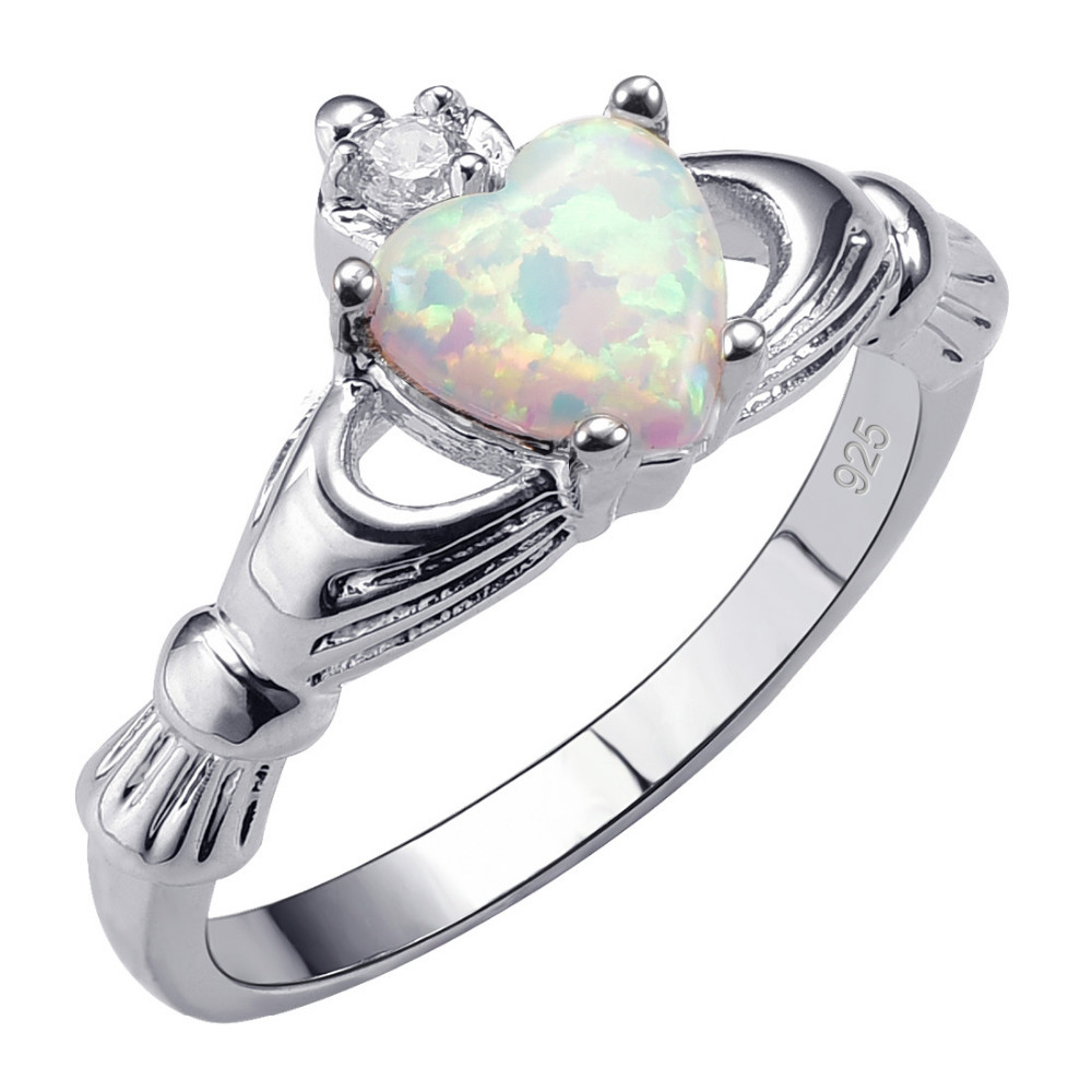 Weinuo White Fire Created Opal Ring Stainless Steel Wholesale Retail NO Fading NO Allergies Ring Size 5 6 7 8 9 10 11 12