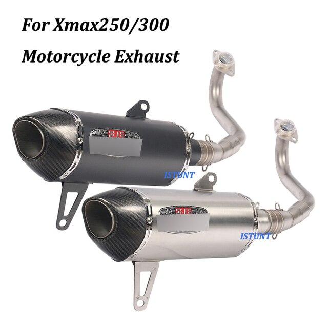 Per Yamaha Xmax250 Xmax300 Completa del Sistema di scarico Moto Fuga Modificato Con Frontale in acciaio inox Metà di Collegamento Tubo di Scivolare su