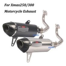 Sistema de Escape completo para motocicleta Yamaha Xmax250 Xmax300, tubo de conexión Frontal Medio de acero inoxidable, antideslizante