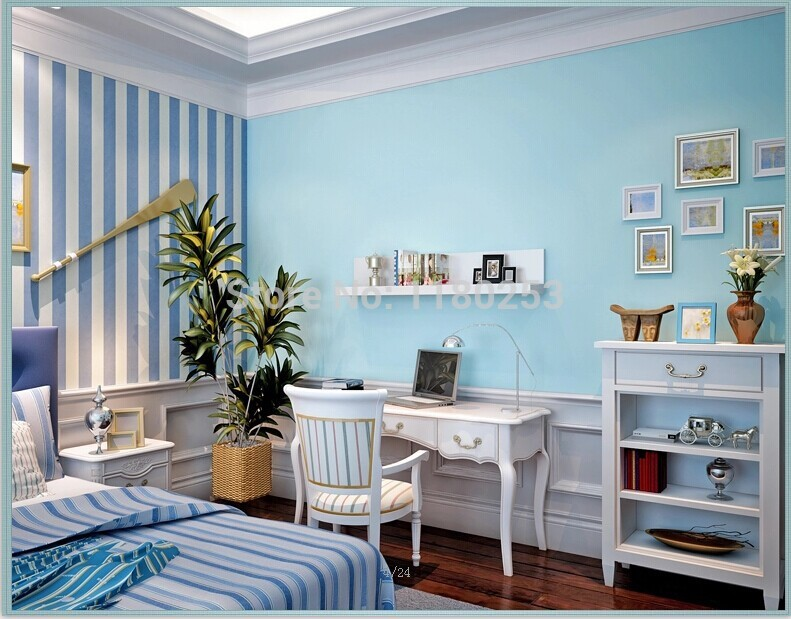 Home Decoration Solid Sky Blue Mediterranean Style DIY Wallpaper For Living Room Kids Sofa TV Background Wallpapers