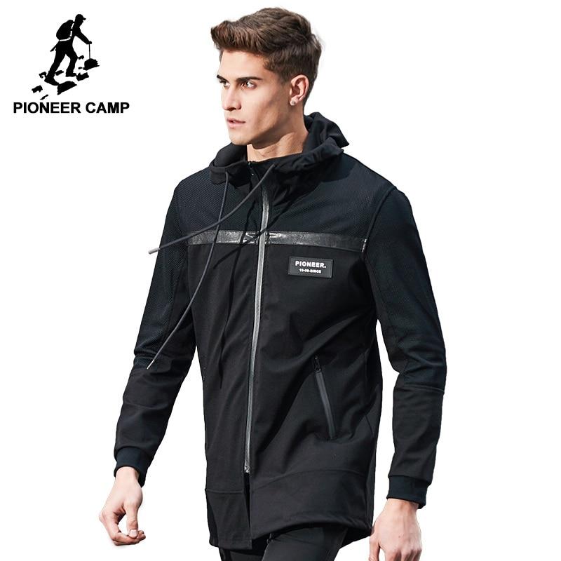 Camp pionnier Nouvelle automne longue veste hommes marque-vêtements mode noir veste manteau mâle top qualité casual hommes manteau AJK703031