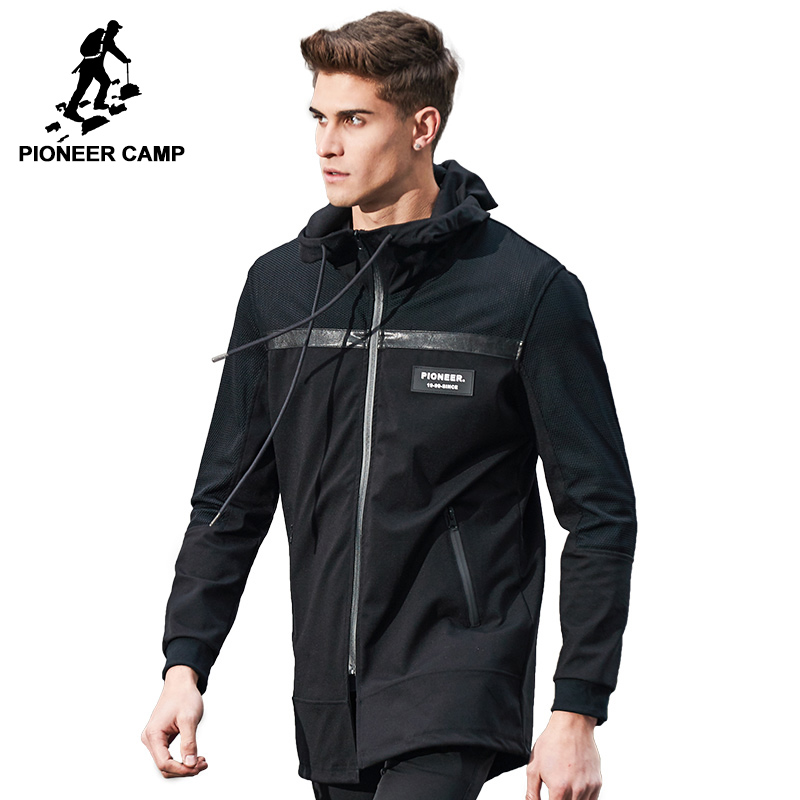 Pioneer Camp New autumn long jacket men brand-clothing fashion black jacket coat male top quality casual men coat AJK703031