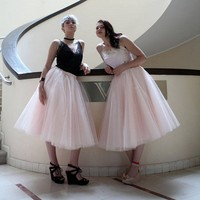 Faldas Saia 2018 Pink Tulle Skirts Elastic Plus Size 6 Layer Tulle 1 Lining Custom Made