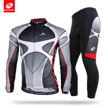 Nuckily winter Mens coolmax design thermal fleece long cycling clothing sets  ME005MF005