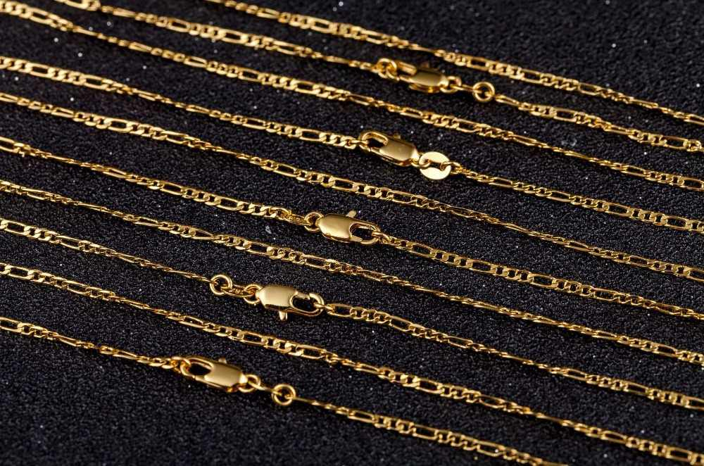 2mm שטוח שרשרת שרשרת לנשים גברים זהב/כסף תכשיטי פיגארו שרשרת שרשרת 16 18 20 22 24 26 28 30 אינץ סיטונאי 925/18 K