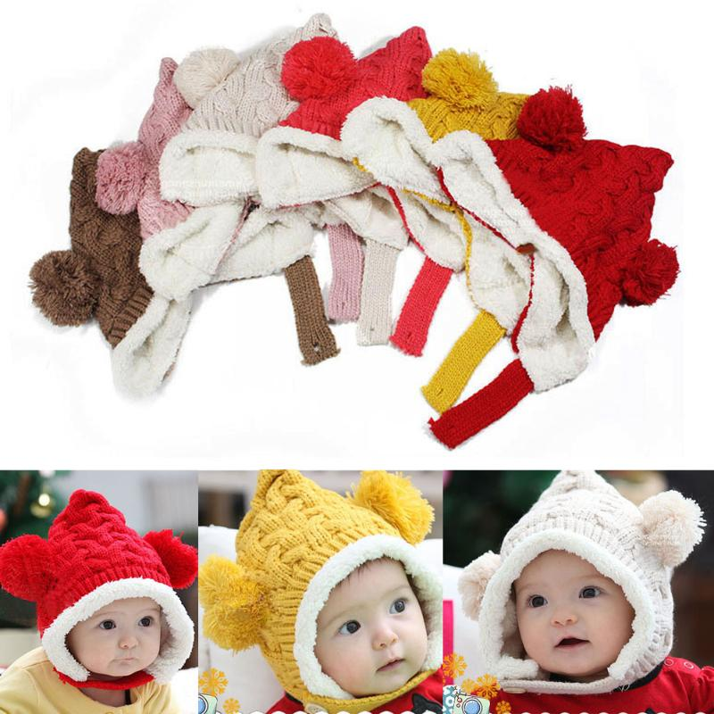 1-4Y Baby Winter Hat Kids Warm Cap Hat Beanie Warm Baby Boy Girl Kids Infant Winter Caps 5 Colors Childrens hats