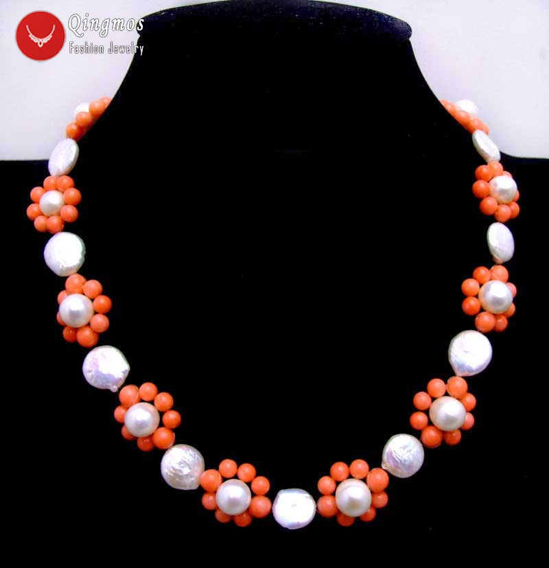 Qingmos Trendy Pearl Chokers Necklace for Women with Natural White Round Coin & Pink Coral Flower Handwork Weaving Necklace-6221