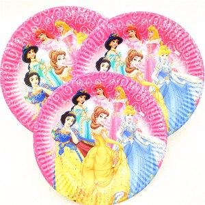 Image 4 - Disney altı prenses Belle tema tasarımı 83 adet/grup tek kullanımlık sofra setleri kızlar doğum günü partisi tema parti dekorasyon kaynağı