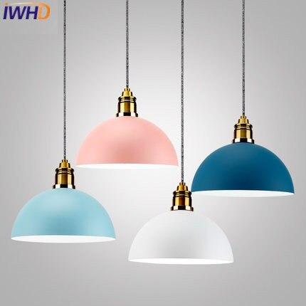 Lampe pendante moderne simple de fer d'iwhd a mené les lampes pendantes de luminaires d'art déco de couleur créative pour des lampes pendantes de cuisine