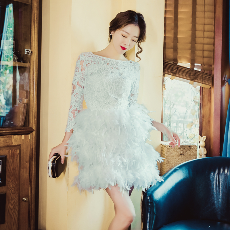 Charming   Cocktail     Dresses   vestidos de coctel Knee Length 2019 Lace Top Feathers Mini Skirt Club Party   Dresses