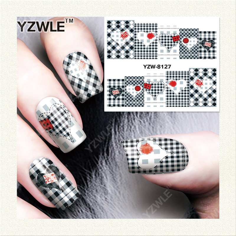 YZWLE 1 Sheet DIY Decals Nails Art Water Transfer Printing Stickers Accessories For Manicure Salon YZW-8127 yzwle 1 sheet hot gold 3d nail art stickers diy nail decorations decals foils wraps manicure styling tools yzw 6015
