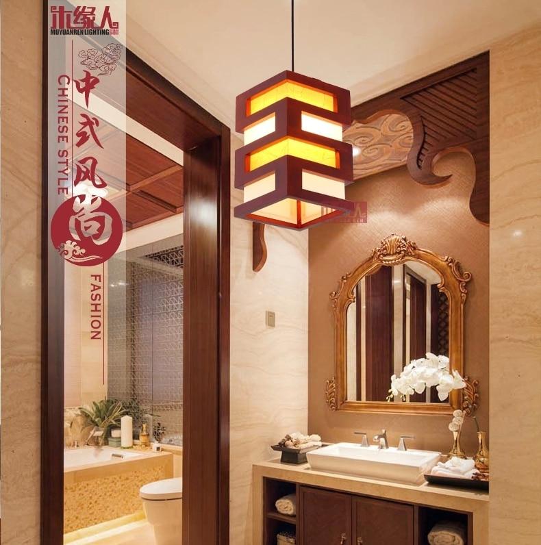 Simple tête petit bois antique lustre salle à manger restaurant lumières lanterne personnalité créative balcon allée lumières