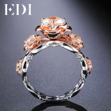 EDI Luxurious Rose Flower 9K Rose Gold Diamond Wedding Ring For Women Round Cut Moissanite Diamond Gold Jewelry Floral Rings