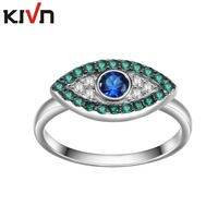 KIVN Fashion Jewelry Turkish Blue Evil Eye CZ Cubic Zirconia Womens Girls Wedding Engagement Rings Mothers