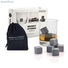 Piedras del whisky Piedra de Hielo Reutilizable Rocks Chilling Cubos en Caja de Regalo con Bolsa de Transporte Juego de 9 de Whisky Bourbon