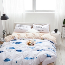 Cartoon Blue Fish Duvet Cover Set 100% Cotton White Bedding Sets For Home Solid Color Bed Sheets Pillow Case Cute Duvet Cover