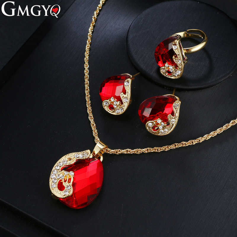 GMGYQ Luxury Crystal African Beads Jewelry Set 2018 Nigerian Wedding Fashion Jewelry Womens Accessories Gift Set For Women