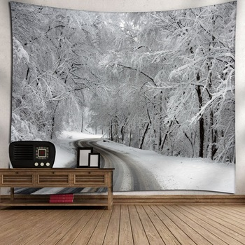 Forest Christmas Tapestry Decor Snowy Trees Wooded Scenery Frosty Winter Design Wall Hanging for Bedroom Living Room Dorm