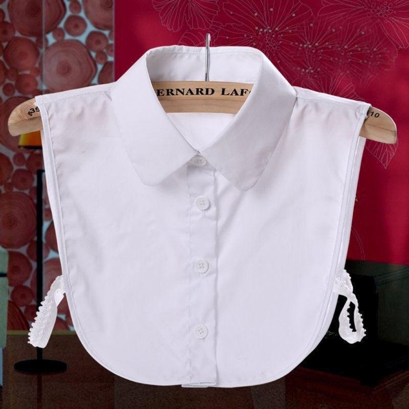 KLV Women Pure Color Lace Detachable Lapel Choker Necklace Shirt Fake False Collar