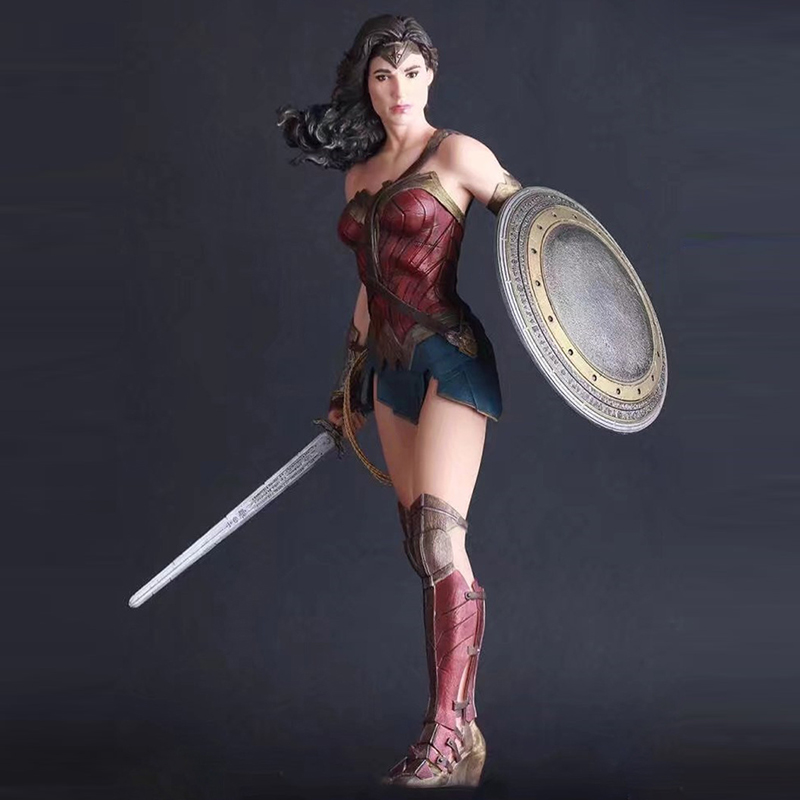 Act Figures Toys SuperHero Justice League 27cm Wonder Woman PVC Action Figure Collectible Model Toy Dolls new 27cm no base anime card captor sakura mini figures kinomoto sakura daidouji tomoyo pvc action figures toys cardcaptor