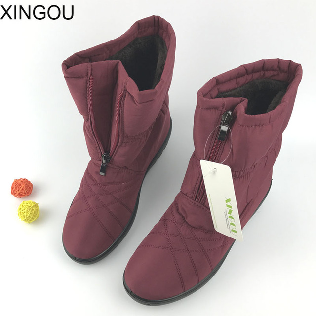 New 2018 snow boots female ankle boots Solid thickening warm winter women's shoes waterproof non-slip warm cotton shoes women
