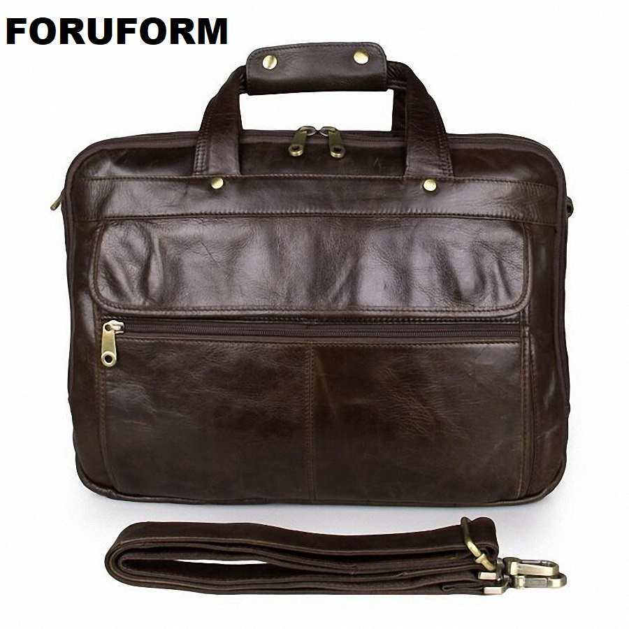 купить Men 14 Inch Laptop Bag Retro Genuine Leather Briefcase Bag Business Handbag Causal Shoulder Bag Male Real Cow Leather Bag LI-662 онлайн