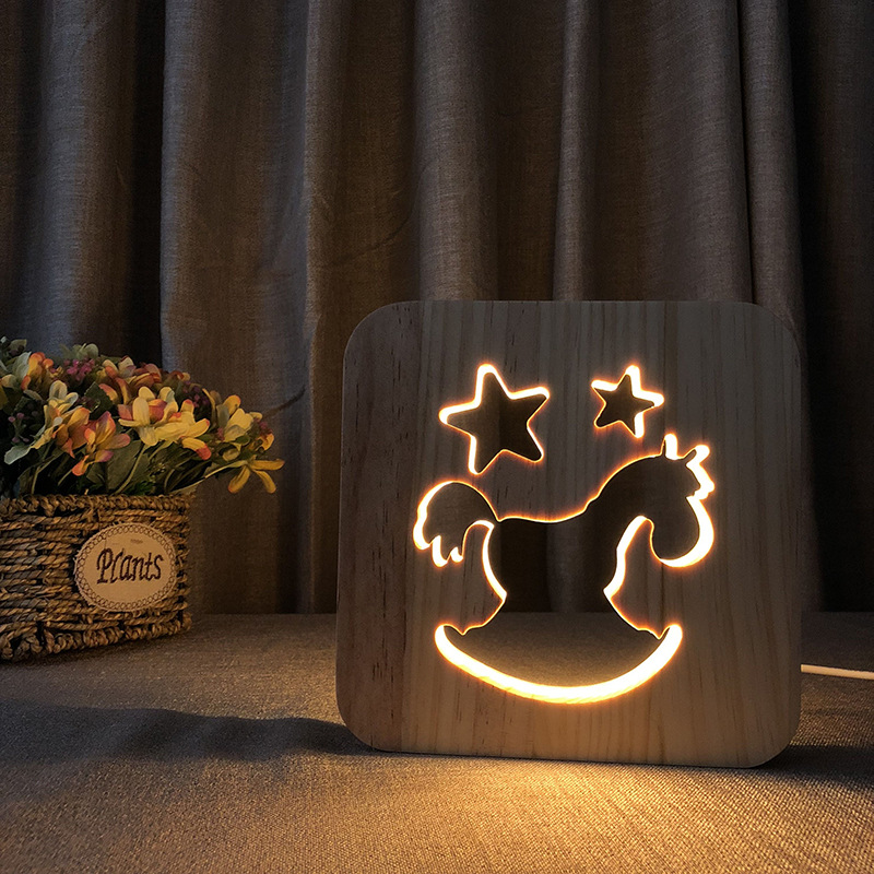 2018 New Modern Design Optical Illusion 3D LED Lamp as Home Decor Bedroom Night Light Wooden Horse LED Lighting Gift IY801101-85 modern design acrylic optical illusion 3d led lamp as home decor bedroom mood night light warm white usb table desk lamp zigzag