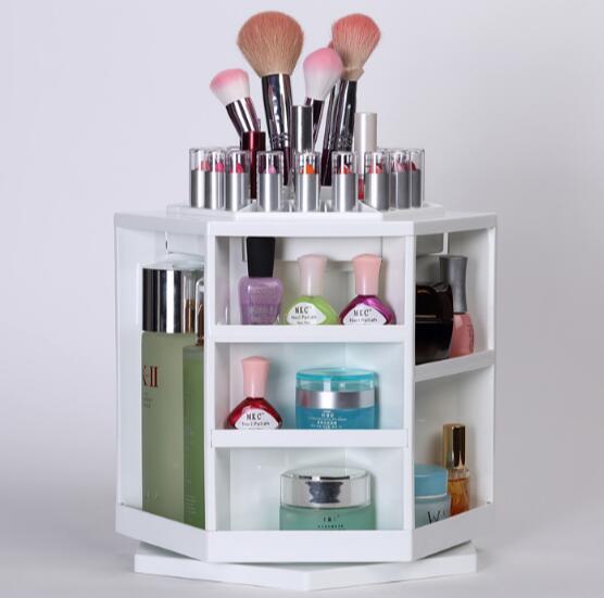 360 gradi girevole desktop scatola di immagazzinaggio cosmetici grande trucco creativo comò finitura scaffali 0473