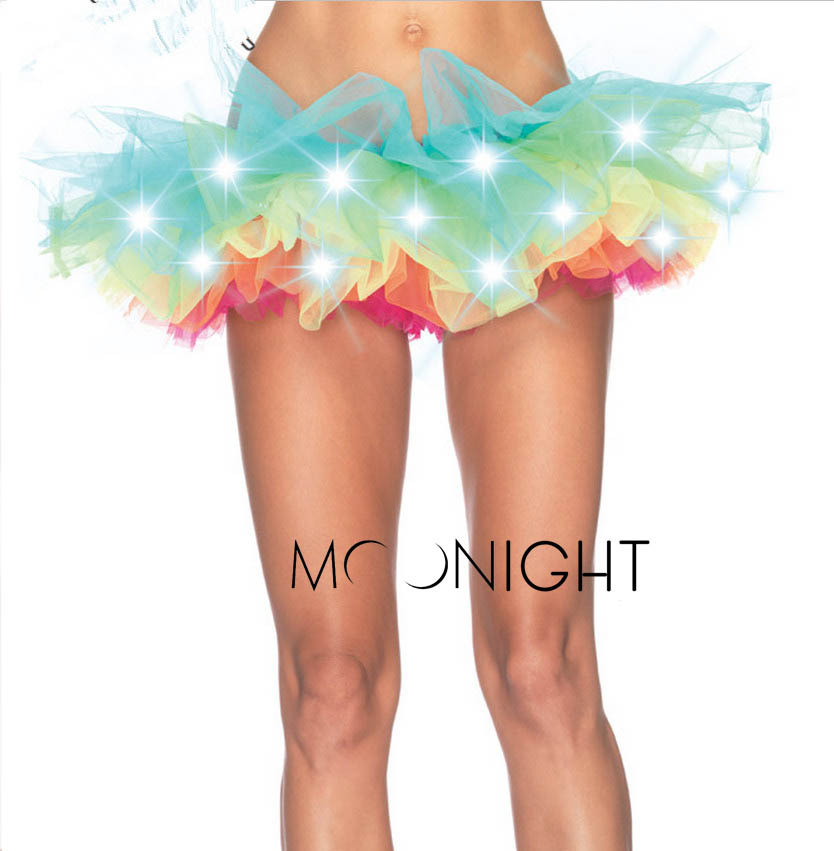 MOONIGHT Charming Led Lights Tutu Fashion Colorful Skirt Costume Dance Skirt For Women