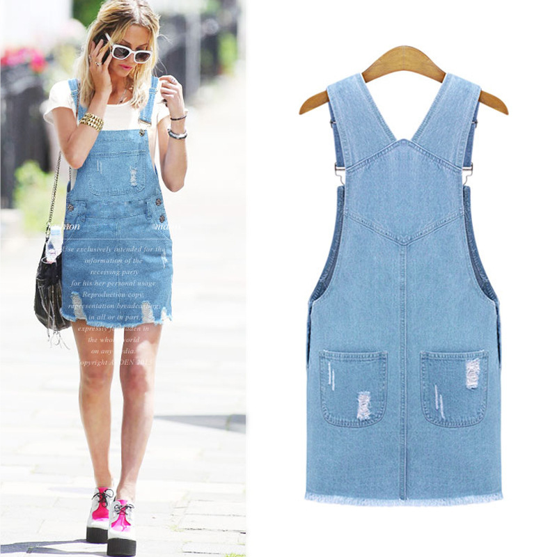 47cab56ab9a Cute Lady Womens Washed Casual Blue Denim Overall Denim Skirt Jumper Dress  Skater Jean Skirt PLUS SIZE XL 5XL Free Shipping -in Dresses from Women s  ...