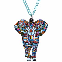 Colorful African Elephant Pendant Necklace
