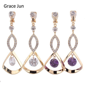 Grace Jun High Quality Rhinestone CZ Long Gold Color Clip on Earrings Without Piercing for Women Elegant Fine Jewelry Earring