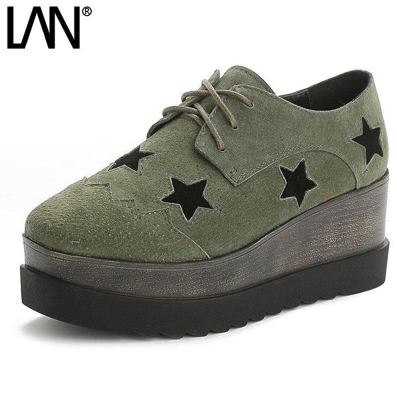 של סיבוב בוהן נשים סיבתי כוכב פו זמש נעלי אוקספורד נעליים לשרוך את נעלי אוקספורד רטרו בסגנון בריטי פלטפורמת נשים 7 ס