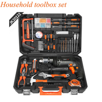 Multi function Hardware Tools Set Household Tool Set Car Repairing Tool With Electric Impact Drill Wrench Claw Hammer JK20122