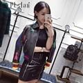 Marca de Moda 2016 de Alta Calidad Real Bomber Leather Jacket Women Short Pintado Remache Chaqueta de Cuero Geninue Mujer Estrella y de la Luna
