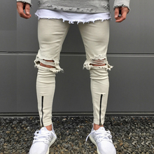 2017 new zippers design skinny slim fit mens Distressed black cotton Denim jeans high quality fashion casual stretchy jeans