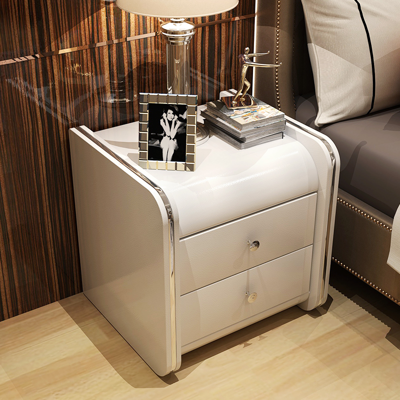 Luxury Softly-covered Leather Nightstand Bedstand Cabinet Coffee Sofa End Bedside Table Home Hotel Furniture Cupboard Bedroom(China)