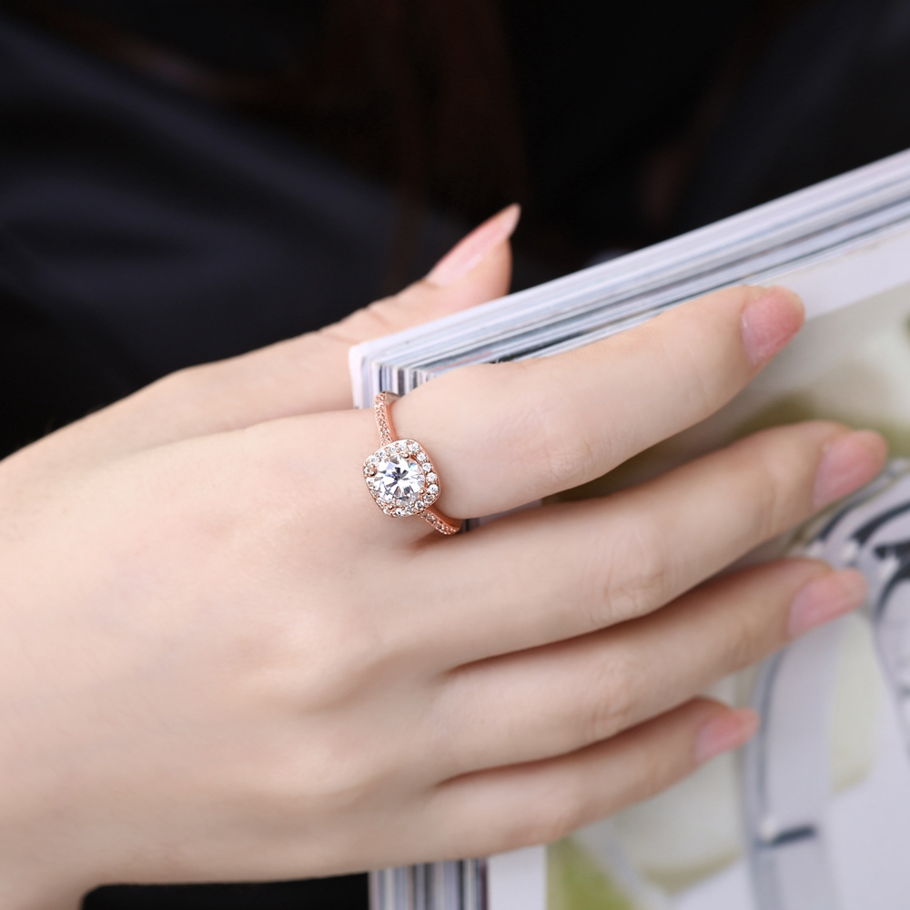 Solid Square Shape Pave Zircon Rose Gold Plating Copper Ring Wedding ...