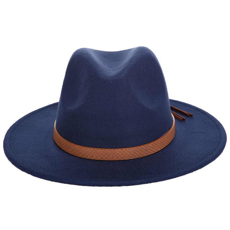 2017 Retro mujer Fedora fieltro sombrero para mujeres señoras fajas Otoño Invierno Jazz sombrero imitación lana Flat Brim Bowler Iglesia sombrero