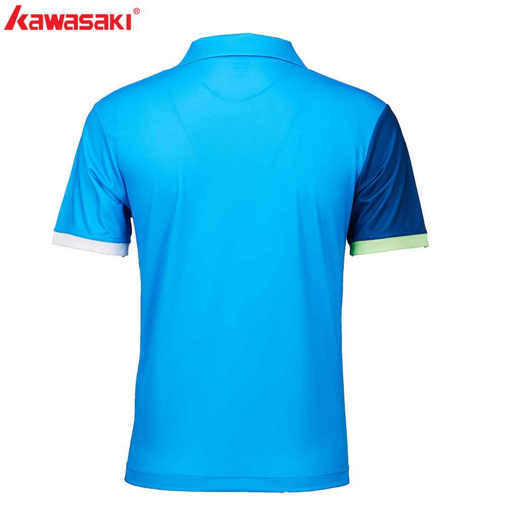 2019 оригинальный Kawasaki мужские рубашки-поло короткий рукав быстросохнущая полиэстер Для мужчин Настольный теннис Футболка спортивная Костюмы ST-S1102