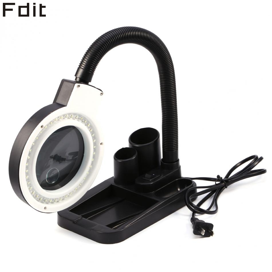 40 LED Illuminated Lighting 5X 10X Stand Magnifier & Desk Lamp