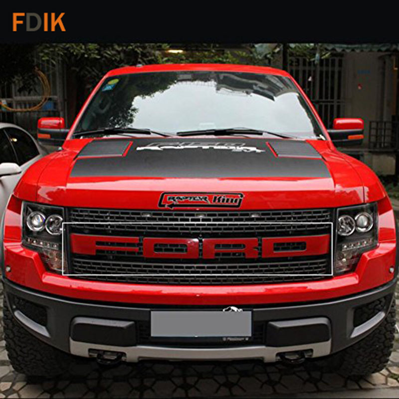 2014 F150 Grill >> Hood Engine Grille Red Letters Sticker Graphics Vinyl Decal for Ford F150 Raptor 2009 2014 Free ...