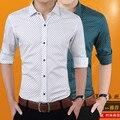 Мужские рубашки Топы плюс размер 2017 Весенняя Мода Чистого хлопка печати С Длинными рукавами slim fit рубашки Мужчин Случайные Ретро блузки