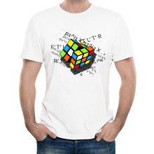 Newest 2017 Fashion Rubik Formula Design T-Shirt Men's Custom Novelty Cube Printed T Shirt Summer Hipster Cool Male Tees Tops