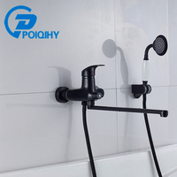 POIQIHY Bathtub Faucet Long Spout Faucet Hand Shower Bathroom Faucet Wall Mounted Mixer Tap With Bracket