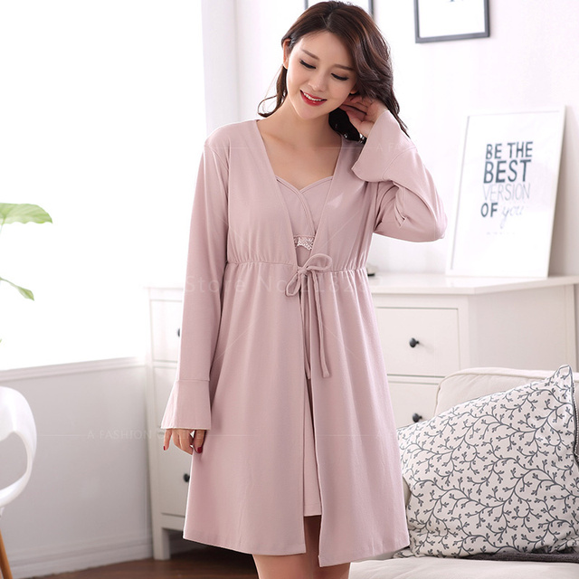 New Spring Autumn Women Long Sleeved Cotton Dress Robes Matured Pijama Robe  Sets Sexy Women Ladies Nightgown Sleepwear Plus 3XL 2725d7693
